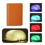 Lunlight LED Buchlampe Akku Nachttischlampe, Klapp Buch Lampe, 360° Faltbare Led Stimmungsbeleuchtung Schreibtischlampe mit Multi-Farben(fünf Farben in einem Buch mit Drucken auszuwählen)