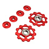 VORCOOL 2 Stücke Schaltröllchen Fahrrad Schaltwerk Riemenscheibe 11T Aluminium für Shimano (rot)