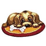 perfk Knüpfteppich DIY Handwerk Knüpfpackung zum Selber Knüpfen Teppich für Kinder, Erwachsene, 50x36cm - Hund