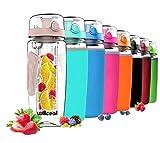 Willceal Wasserflasche mit Fruchteinsatz 945 ml – Hochwertig und beständig – Groß, BPA-frei, aus Tritan – Aufklappbarer Deckel mit Tragegriff – Auslaufsicheres Design