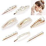 Perlenhaarspange, 8 stücke Schöne Haarschmuck Haarklammern Haarnadeln, Goldene Klammern von Doosl