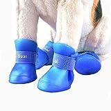 VICTORIE Hundeschuhe Pfotenschutz Gummi Regenschutz wasserdicht mit Anti-Rutsch Sole Outdoor für Haustier Kleiner Mittlere große Hunde Blau 4 Stücke(XL: 6.0 X 7.5 CM)