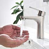 ubeegol Wasserhahn Bad Armatur Waschbecken Mischbatterie Waschtischarmatur Badarmatur Einhandmischer Waschtisch Armaturen Waschtischbatterie, Edelstahl Matt