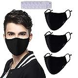 Yuccer Mundschutz Maske, 3 Pack Einstellbare Anti Staubschutzmaske Wiederverwendbare Baumwolle Mundmaske mit Sechs Filter (3 Schwarz, Männer)