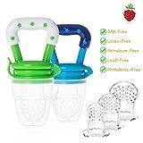 Minetom Fruchtsauger Schätzchen Schnuller Gemüse sauger für Schätzchen Baby Fruchtsauger mit 6 Silikon Nippel Ersatz und 2 Schnuller Clip