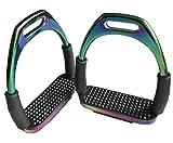 Tula-Toys Regenbogen Sicherheitssteigbügel Gelenk Steigbügel Multicolour Pferd Metall Gelenksteigbügel bunt