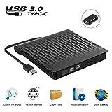 Externes DVD Laufwerk USB 3.0, Tragbar Ultradünn USB C CD/DVD RW Brenner für Laptops und Desktops, Notebook, kompatibel mit Windows XP/ Win8.1/ Wind10/ Vista/7, Linx, Mac10 OS System