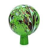 Lauschaer Glas Gartenkugel Rosenkugel aus Glas mit Granulat grün d 15cm mundgeblasen handgeformt
