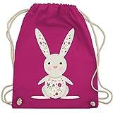 Tiermotive Kind - Süßer Hase - Frühlingstiere mit Blumen - Unisize - Fuchsia - WM110 - Turnbeutel & Gym Bag