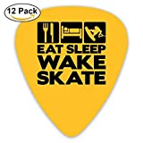 Celluloid Guitar Picks Mandolin Guitar Plectrums,Print Eat Sleep Wakeskate,12 Pack