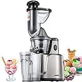 Entsafter, Aicook 3 In 1 Slow Juicer für Obst, Gemüse, Babynahrung & Eiscreme, mit Vorreinigung und Umgekehrter Funktion, Geräuscharmer Motor und rutschfesten Füßen.