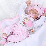 NPKDOLL Realistische Schlafende Wiedergeborene Babypuppe Silikon Neugeborenes Mädchen 22 Zoll 55 cm Reborn Baby Doll Rosa Kleidung Kinder Spielzeug Anzug