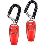 Tatuo 2 Packung Clicker Hundepfeife zum Aufhören zu Bellen Hundetraining Clicker-Hundepfeife Clicker 2 in 1 Neue Upgrade Trainingsgeräte mit Handschlaufe (Rot)