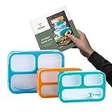 FITPREP Premium Lunchbox Bento Set für Kinder & Erwachsene I 3 Stück I Meal Prep I 3 Fächer I Dicht I BPA frei I inkl Ebook - Bitte Maße beachten