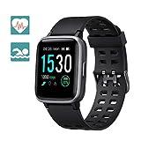 Arbily Smartwatch Fitness Armbanduhr Fitness Tracker für Damen Herren Kinder, Sportuhr mit Schrittzähler Pulsmesser Wasserdicht IP68 zum Schwimmen, Smart Watch für iOS Android Handy (Schwarz)