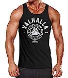 Neverless Herren Tank-Top Valhalla Runen Vikings Wikinger Muscle Shirt schwarz L