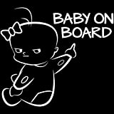 EROSPA Auto-Aufkleber KFZ - Baby On Board - Car-Sticker (Silber)