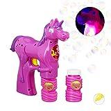 Relaxdays Einhorn Seifenblasenpistole, LED, batteriebetrieben, 2x Seifenblasen Flüssigkeit, Kinder & Erwachsene, pink