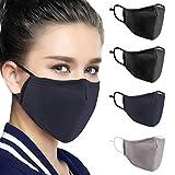 4 Stück Baumwolle Masken, Unisex Wiederverwendbar Mundschutz, Anti-Beschlag Maske, Kälteschutz Gesichtsmaske, Unisex Wiederverwendbar Kawaii Für Männlich Frau (4 Stück)