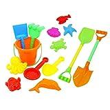 HAC24 14tlg. Sandspielzeug Set Sandkasten Spielzeug Strandspielzeug Eimer Formen Schaufel Sand Strand Eimergarnitur