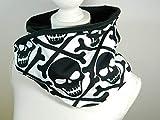 Loop-Schal Skull Totenköpfe Pirat Knochen schwarz weiß Rundschal Halstuch Tücher