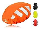 Wasserdichter Regenschutz für den Fahrradhelm (oranges Cover) Unisex Regenüberzug für den Helm mit Gummizug und Reflektor-Elementen – wasserfester Überzug für alle Helme (Herren, Damen, Kinder)