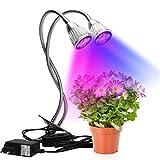 YXMxxm Wachsen Sie Licht, 10W LED-Pflanzenclip-Lampe, Zweikopf-Wachstumsglühlampen für Zimmerpflanzen, die die wachsende Keimung blühen