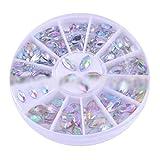 JasCherry Strasssteine für Nägel - 3D Misch Nagel-Kunst-Funkeln Rhine Scheibe Dekoration Edelsteine Kristall Rad