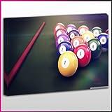 S475 Leinwanddruck Poolbillardtisch / Snooker, Queue und Kugeln, gerahmt, fertig zum Aufhängen Frame Size 40'x60'