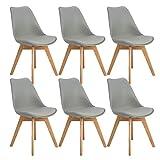 EGGREE 6er Set Esszimmerstühle Skandinavisch Küchenstuhl Stühle Modern mit Massivholz Eiche Bein und Kunstlederkissen, Grau