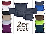 Doppelpack Kissenbezüge aus sanforisiertem Baumwoll-Jersey zum Sparpreis - in dezentem Design - 10 dekorativen Farben und 4 Größen, 80 x 80 cm, anthrazit