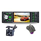 Autoradio Mit Bluetooth 4,0-Zoll-Touchscreen 1 Din-Auto-Video-Player Mp5 FM-Radio-Player Hochauflösender LCD-Display MP3 Player Mit 7-Farben-Hintergrundbeleuchtung IR-Rückfahrkamera-Fernbedienung