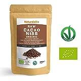 Roh Kakao Nibs Bio 200g | Organic Raw Cacao Nibs | 100 % Rohkost, natürlich und rein | Produziert in Peru aus der Theobroma Cocoa Pflanze | Superfood reich an Antioxidantien, Mineralien und Vitaminen.