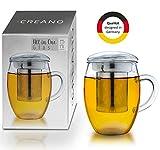 Creano Teeglas All in one 400ml, Große Teetasse mit Edelstahlsieb und Deckel aus Glas, Teebereiter in attraktiver Geschenkverpackung (1x 400ml)