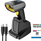 Inateck Barcode Scanner Bluetooth, Wireless QR Code Scanner mit intelligenter Ladestation, 2D Barcode Scanner, Bildschirm und Display scannen unterstützt, BCST-52
