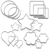 KENIAO Basic Ausstechformen Set Rund Stern Fondant Brot Ausstecher - 15 Stück - Stern, Herz, Rund, Platz und Blume - Edelstahl