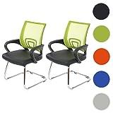 Mendler 2x Konferenzstuhl Ancona, Besucherstuhl, Kunstleder ~ grün