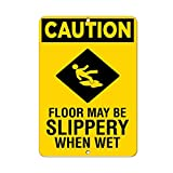 Monsety Art Wand Deko Schilder Vorsicht Boden Kann Slippery When Wet Warnzeichen Metall Room Plaque Funny Aluminium Schild 30 x 45 cm