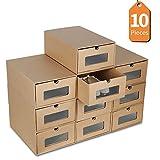 LENTIA Schuhkartons schuhbox transparent 10X Aufbewahrungsbox aus Kraftpapier Schuhaufbewahrung shoes Schuhbox für Männer und Frauen mit transparenten PET-Platte 35 * 23.5 * 13.5cm Khaki