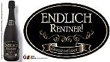 'Endlich Rentner' Aufkleber Flaschenetikett Etikett oval gold elegant