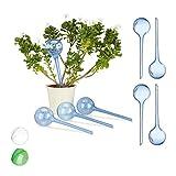 Relaxdays Bewässerungskugeln, 12er Set, Dosierte Bewässerung, 2 Wochen, Topfpflanzen, Kunststoff, blau