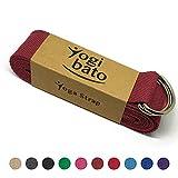 Yogibato Yoga-Gurt | 240 x 3,8 cm | 100% Baumwolle - stabile Metallringe zur flexiblen Größenverstellung - Yoga-Band - (Bordeaux)