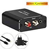 AMANKA Analog zu Digital Audio Konverter mit Optischem Kabel- Analog auf Digital Wandler RCA Cinch + 3.5mm Audio-Klinke zu Toslink/SPDIF Koaxial Audio Adapter für TV DVD Blu-Ray PS3 Xbox -Aluminium