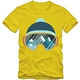 Ski Snowboard T-Shirt Wintersport Herrenshirt Skifahren Schnee Skibrille 3-5XL, Farbe:Gelb (lemongelb);Größe:L