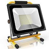 (Neu Update) 50W Led Baustrahler Akku Strahler - 3800lm mit 100 LEDs, bis zu 8 Stunden Leuchtdauer starke Heilligkeit Akku wechselbar kaltweiß Lichtfarbe