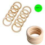 48pcs Holzring 5.5cm Natur Holzringe Schmuck DIY Schmuckherstellung Armband Halskette Zubehör Gardinenring zum Basteln