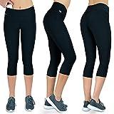 Sport-Leggings 3/4 Damen mit Handytasche | Fitness Freizeit Leggings schwarz Muster (schwarz, M)