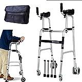 Gehwagen für Senioren Walking Frames Gehgestell mit Armlehnenstützkissen - höhenverstellbar - faltender leichter Aluminium-Gehwagen - Rehabilitationstraining für die unteren Extremitäten ( Farbe : A )