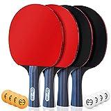 Glymnis Tischtennisschläger Tischtennis Set 4 Schläger & 8 Bälle mit 2 Nylontasche (Verpackung MEHRWEG)
