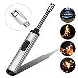 Lichtbogen Feuerzeug, Elektronisch Feuerzeug Stabfeuerzeug USB Aufladbares Feuerzeug Langes Kerzenfeuerzeug für Grill, Küche, Camping, Herd